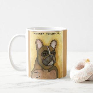 Französische Bulldogge mit der Kaffeetasse