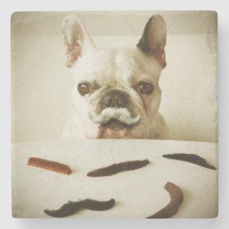 Französische Bulldogge mit einem Schnurrbart Steinuntersetzer