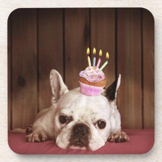 Französische Bulldogge mit Geburtstags-kleinem Getränkeuntersetzer