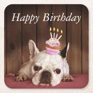 Französische Bulldogge mit Geburtstags-kleinem Rechteckiger Pappuntersetzer