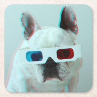 Französische Bulldogge mit Gläsern 3D Rechteckiger Pappuntersetzer