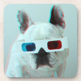 Französische Bulldogge mit Gläsern 3D Untersetzer