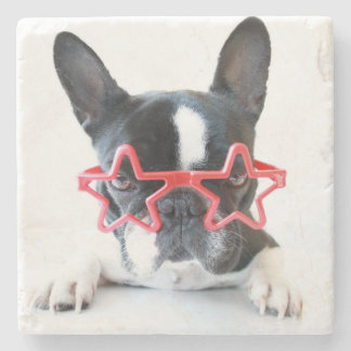 Französische Bulldogge mit roten Stern-Gläsern Steinuntersetzer