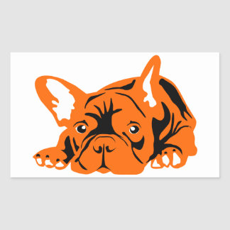 Französische Bulldogge orange schwarz Rechteckiger Aufkleber