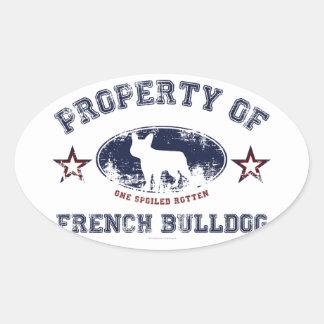 Französische Bulldogge Ovaler Aufkleber