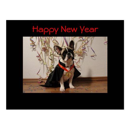 "Französische Bulldogge Postkarte ""Happy New Year"""