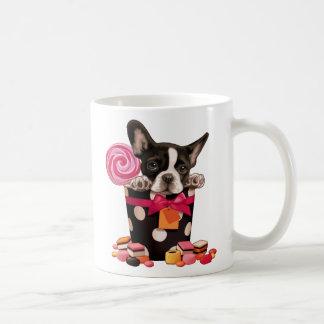 Französische Bulldogge und Süßigkeit Kaffeetasse