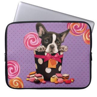 Französische Bulldogge und Süßigkeit Laptop Computer Schutzhülle