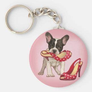 Französische Bulldogge und Tupfenschuh Standard Runder Schlüsselanhänger