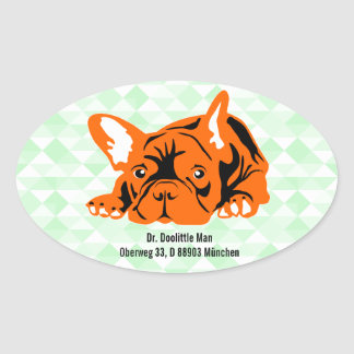 Französische Bulldoggen-Aufkleber mit Text Ovaler Aufkleber