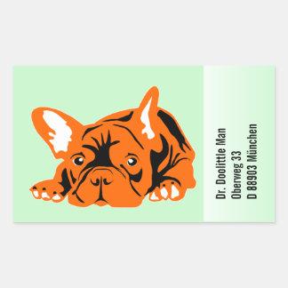 Französische Bulldoggen-Aufkleber mit Text Rechteckiger Aufkleber