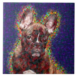 Französische Bulldoggen-bunte Pop-Kunst Fliese