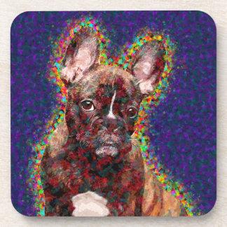 Französische Bulldoggen-bunte Pop-Kunst Untersetzer