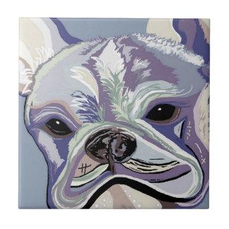 Französische Bulldoggen-Denim-Farben Fliese