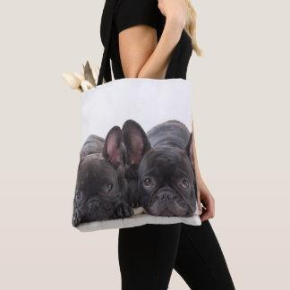 Französische Bulldoggen, die auf einer Decke Tasche