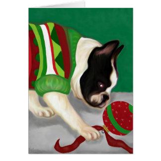 Französische Bulldoggen-Feiertags-Ball Karte