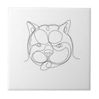 Französische Bulldoggen-Kopf-ununterbrochene Linie Keramikfliese