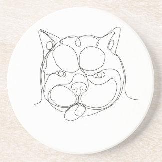Französische Bulldoggen-Kopf-ununterbrochene Linie Sandstein Untersetzer