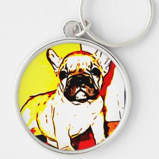 Französische Bulldoggen-Kunst Schlüsselanhänger