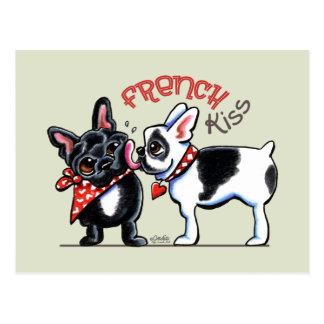 Französische Bulldoggen-Kuss Postkarte