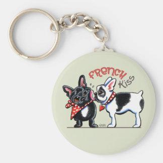 Französische Bulldoggen-Kuss Standard Runder Schlüsselanhänger