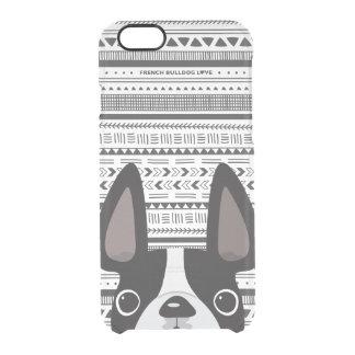 Französische Bulldoggen-Liebe-geometrischer Fall Durchsichtige iPhone 6/6S Hülle