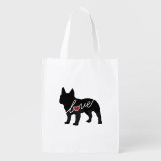 Französische Bulldoggen-Liebe Wiederverwendbare Einkaufstasche