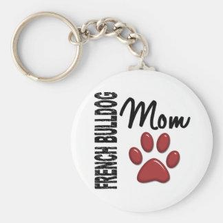 Französische Bulldoggen-Mamma 2 Standard Runder Schlüsselanhänger