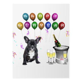 Französische Bulldoggen-neues Jahr Postkarte