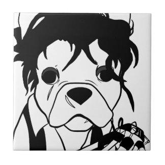 Französische Bulldoggen-Reihe - Ed Scissorpaw Fliese