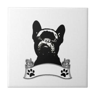 Französische Bulldoggen-Schablone personalisiert Keramikfliese