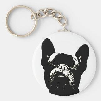 Französische Bulldoggen-Schablone Schlüsselanhänger