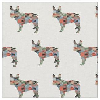 Französische Bulldoggen-Silhouette deckte Gewebe Stoff