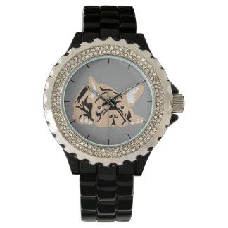 Französische Bulldoggen-Silhouette Uhr