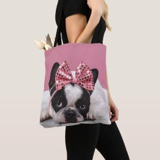 Französische Bulldoggen-tragendes Rosa Tasche