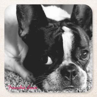 Französische Bulldoggen-Untersetzer Rechteckiger Pappuntersetzer