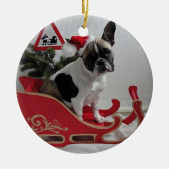 Französische Bulldoggen Weihnachtsanhänger Rundes Keramik Ornament
