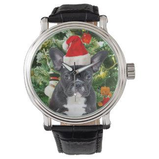 Französische Bulldoggen-Weihnachtsbaum verziert Armbanduhr