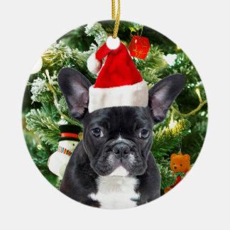 Französische Bulldoggen-Weihnachtsbaum verziert Keramik Ornament