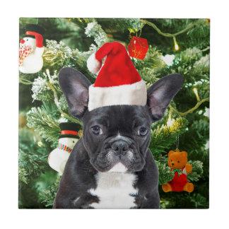 Französische Bulldoggen-Weihnachtsbaum verziert Keramikfliese