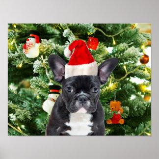 Französische Bulldoggen-Weihnachtsbaum verziert Poster