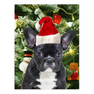 Französische Bulldoggen-Weihnachtsbaum verziert Postkarte