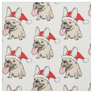 Französische Bulldoggen-Weihnachtsmuster Stoff