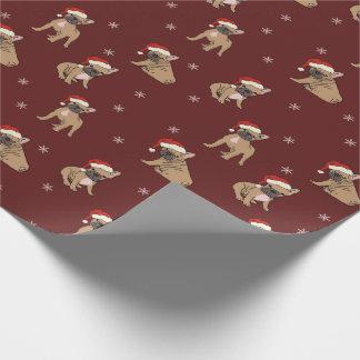 Französische Bulldoggen-WeihnachtsPackpapier Geschenkpapier