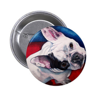 Französische Bulldoggen-Weiß mit Flecken Runder Button 5,1 Cm