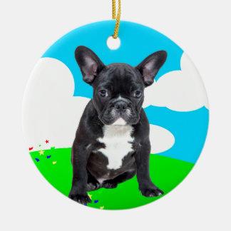 Französische Bulldoggen-Welpen-alles Gute zum Keramik Ornament