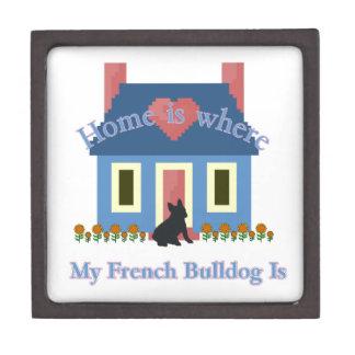 Französische Bulldoggen-Zuhause ist Schachtel