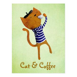Französische coole Katze Postkarte