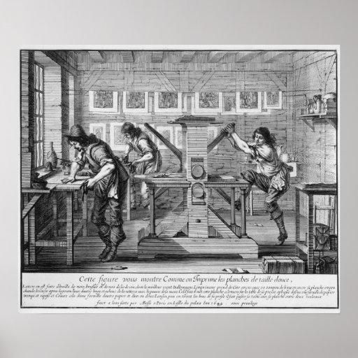Französische Druckmaschine, 1642 Plakatdruck