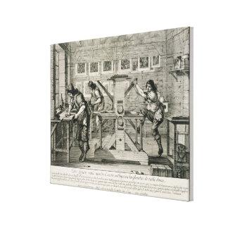 Französische Druckmaschine, 1642 (Stich) Gespannter Galerie Druck